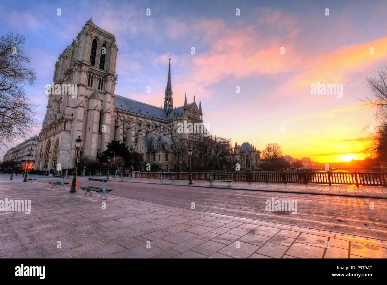 Paris - Notre Dame at sunrise, France - Stock Image