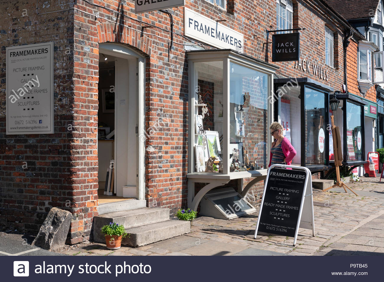 High Street shops, Marlborough, Wiltshire, England, UK - Stock Image