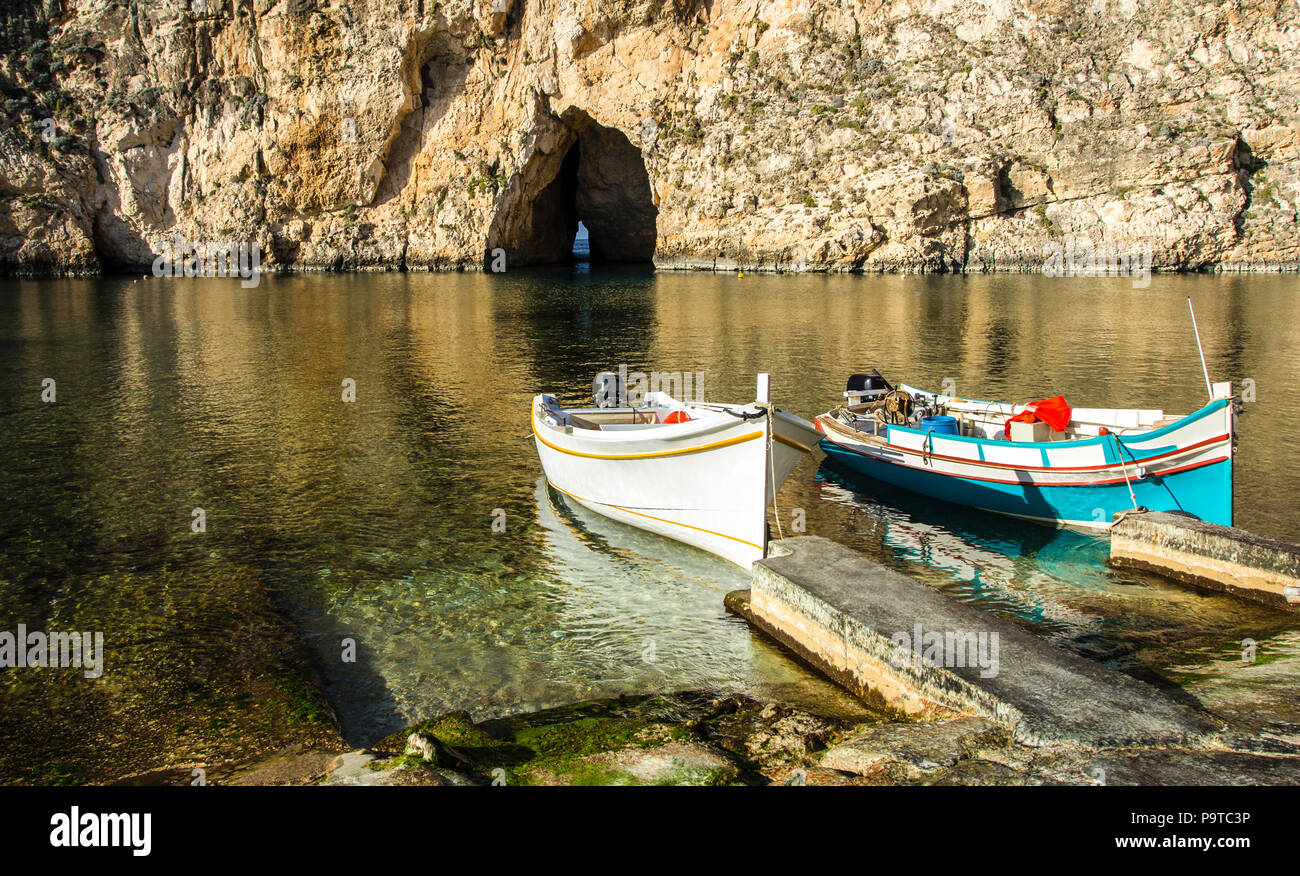 Traditional fishing boats  at the Inland Sea of Gozo - Stock Image