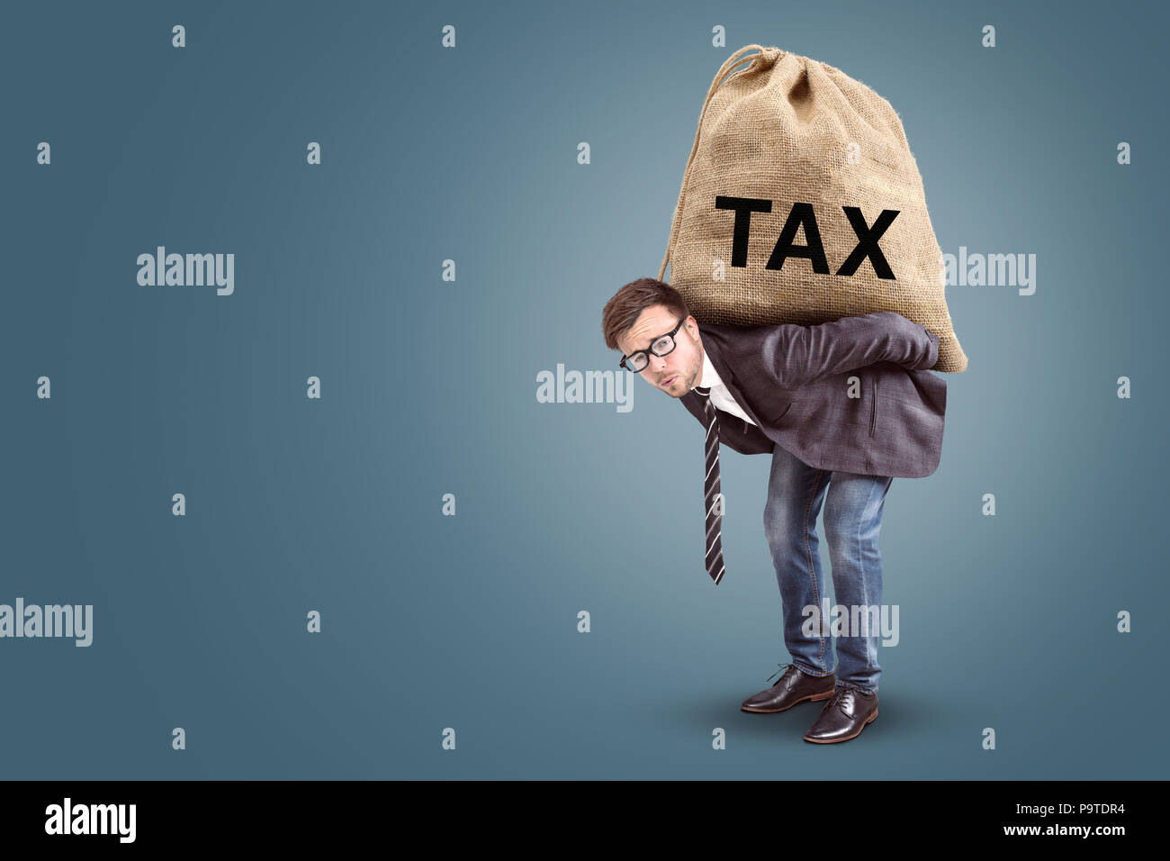 Tax burden concept with copy space - Stock Image
