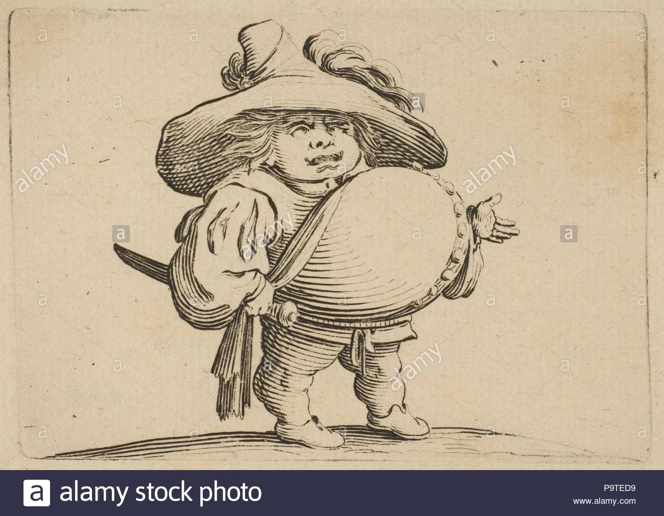 L'Homme au Gros Ventre Orné d'une Rangée de Boutons (Man with a Large Belly Decorated with a Row of Buttons), from Varie Figure Gobbi, suite appelée aussi Les Bossus, Les Pygmées, Les Nains Grotesques (Various Hunchbacked Figures, The Hunchbacks, The Pygmes, The Grotesque Dwarfs), 1616–22, Etching and engraving; first state of two (Lieure), Sheet: 7 5/16 x 10 5/16 in. (18.5 x 26.2 cm), Prints, Jacques Callot (French, Nancy 1592–1635 Nancy). - Stock Image