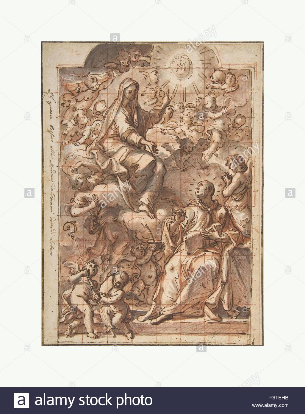 the virgin appearing to st bernard of clairvaux 1687 1772 pen and