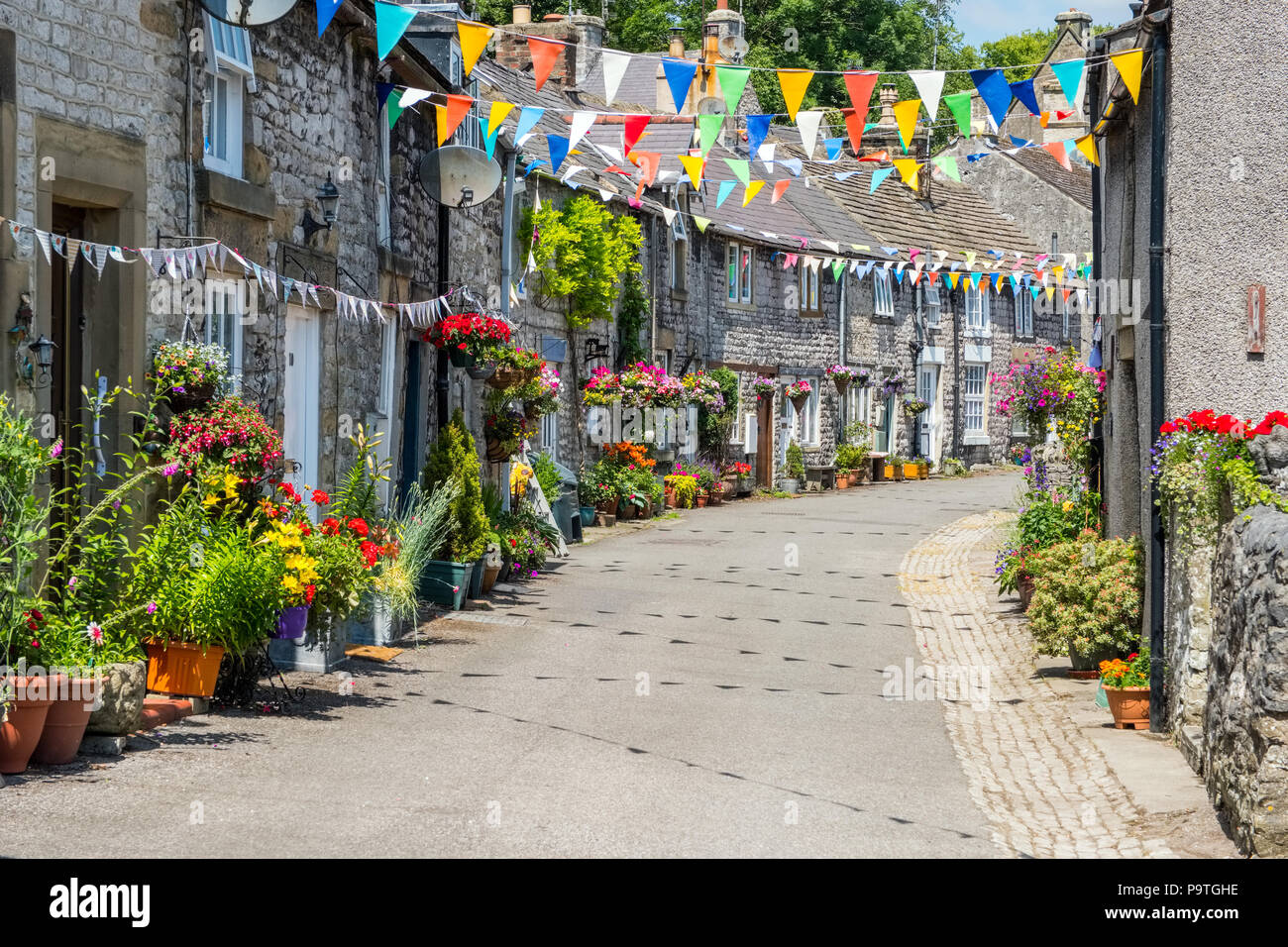 The Peak District village of Tideswell in Derbyshire, UK - Stock Image