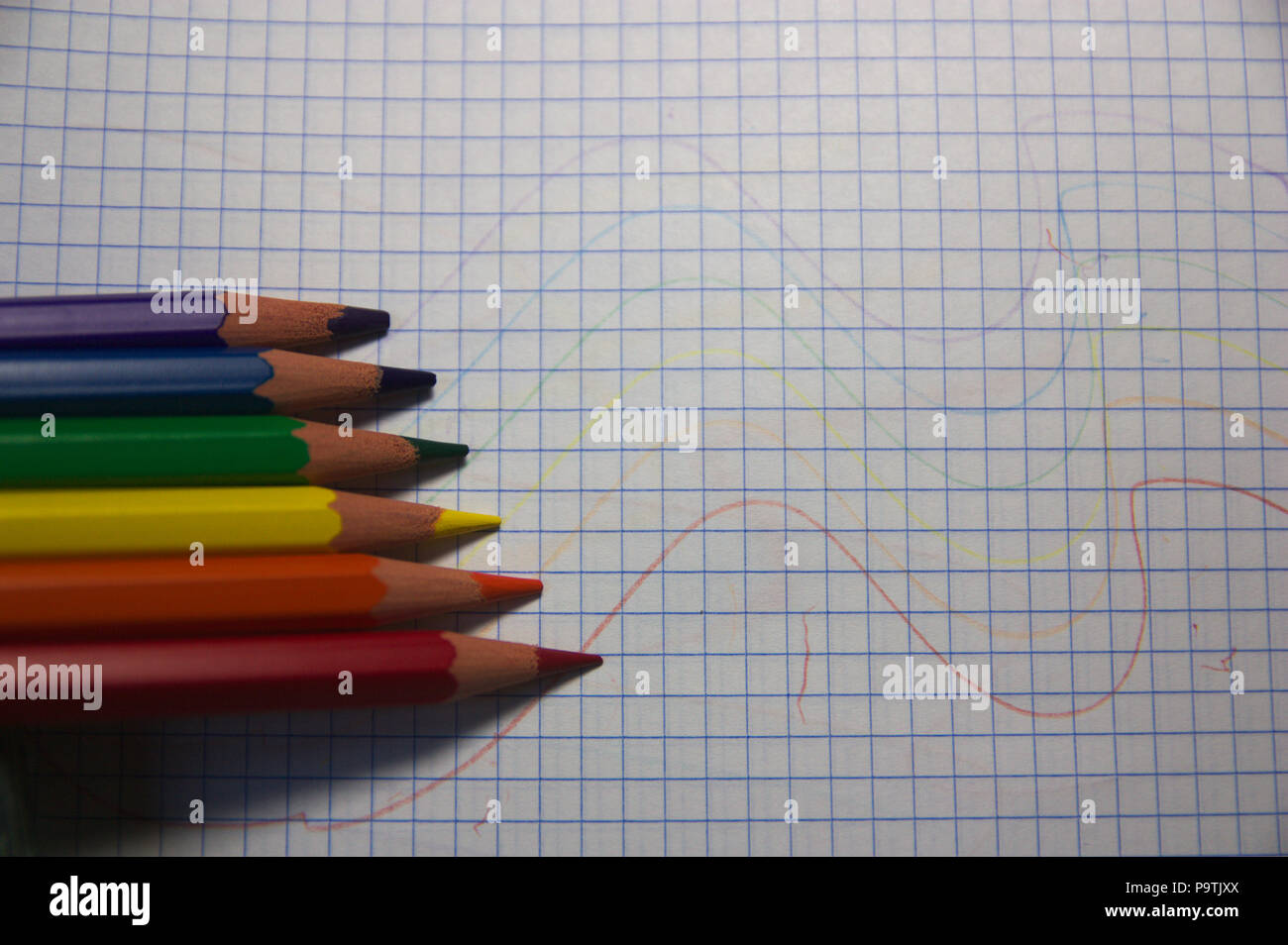 Colored pencils with the colors flag LGTBI - Stock Image