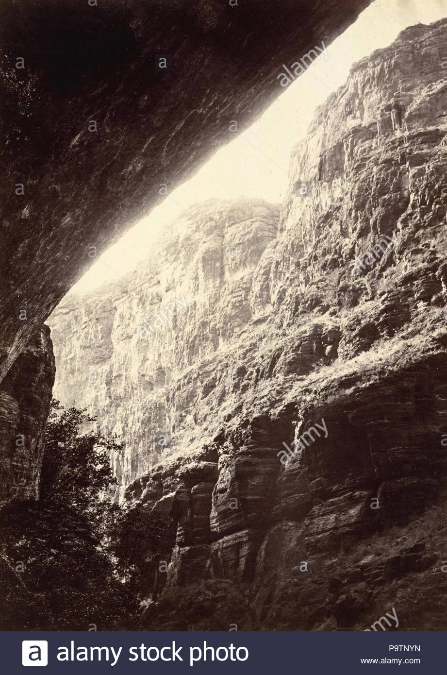 Cañon of Kanab Wash, Looking South, 1872, Albumen silver print from glass negative, Image: 28.2 x 20.2 cm (11 1/8 x 7 15/16 in.), Photographs, William Bell (American (born England) Liverpool 1831–1910 Philadelphia, Pennsylvania), By the time the government's appropriations for George Wheeler's 1872 expedition were made, Timothy O'Sullivan had already signed up with Clarence King's survey for the season. Wheeler therefore asked William H. - Stock Image