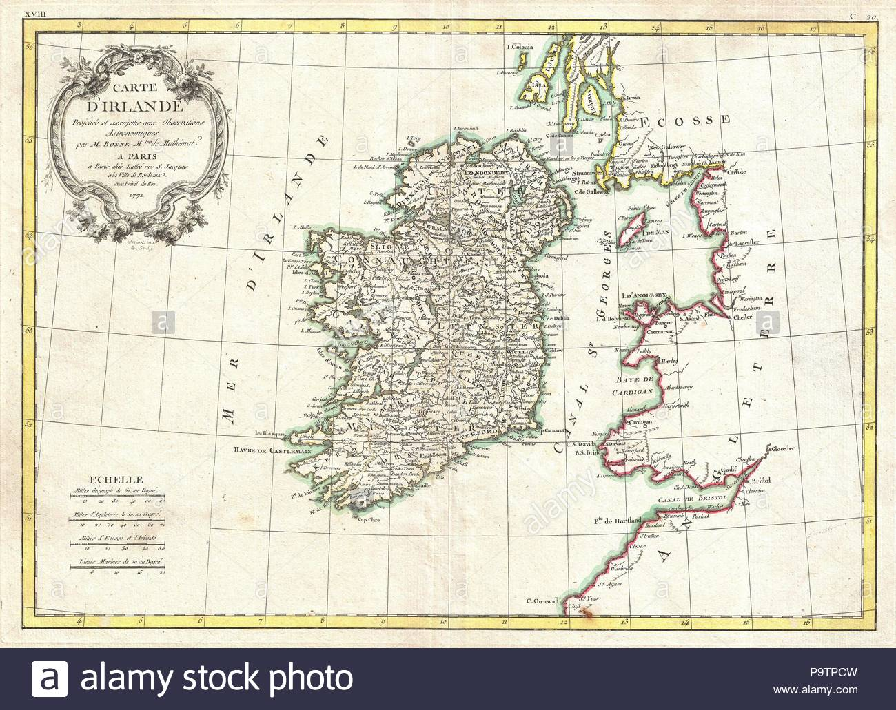 1771, Bonne Map of Ireland, Rigobert Bonne 1727 – 1794, one of the most important cartographers of the late 18th century. - Stock Image