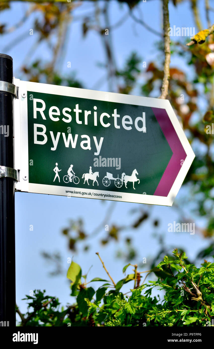Restricted Byway sign in the countryside around Boughton Monchelsea village, Kent, England. - Stock Image