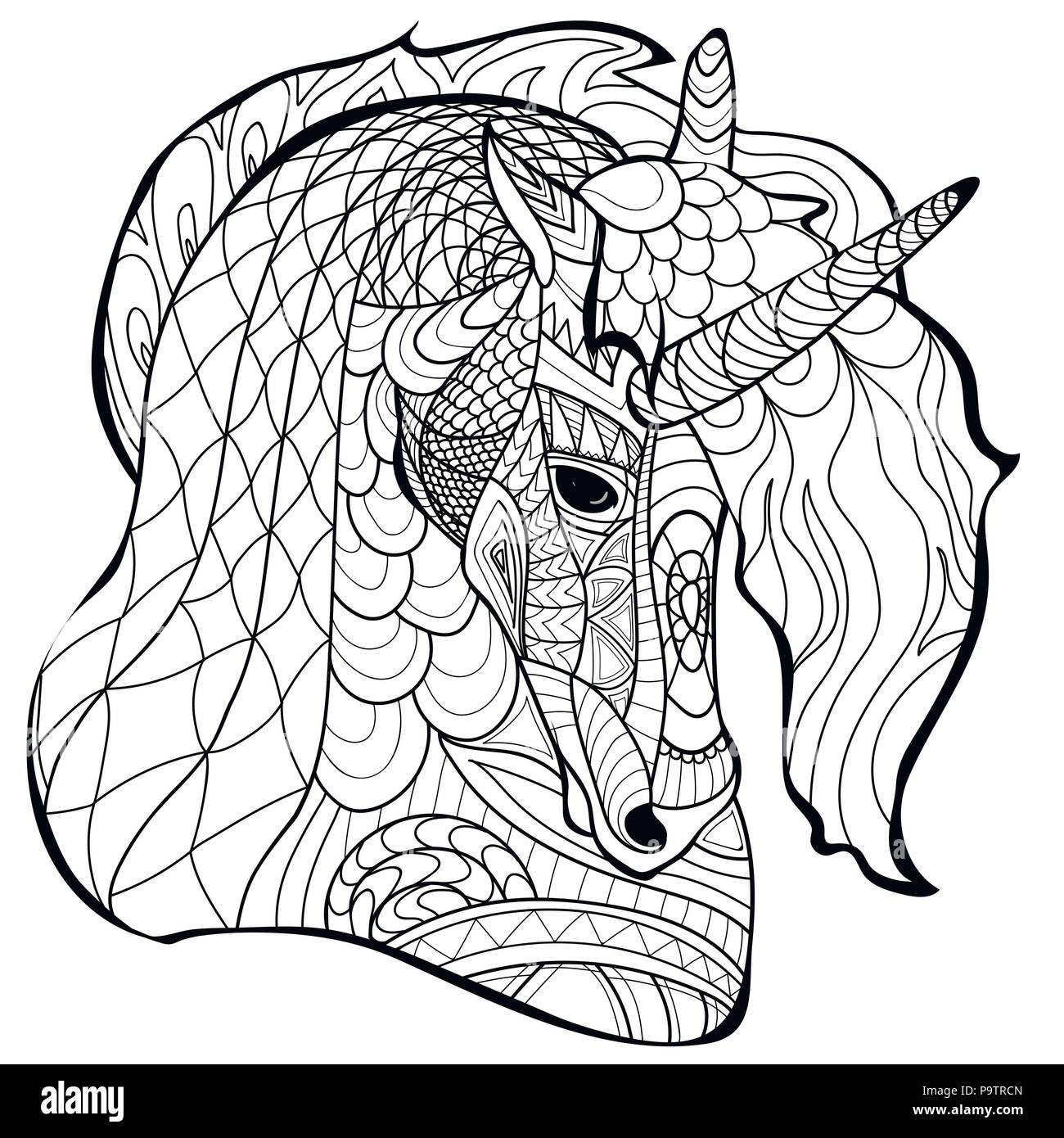 Unicorn Line Coloring Page Book Vector Pattern