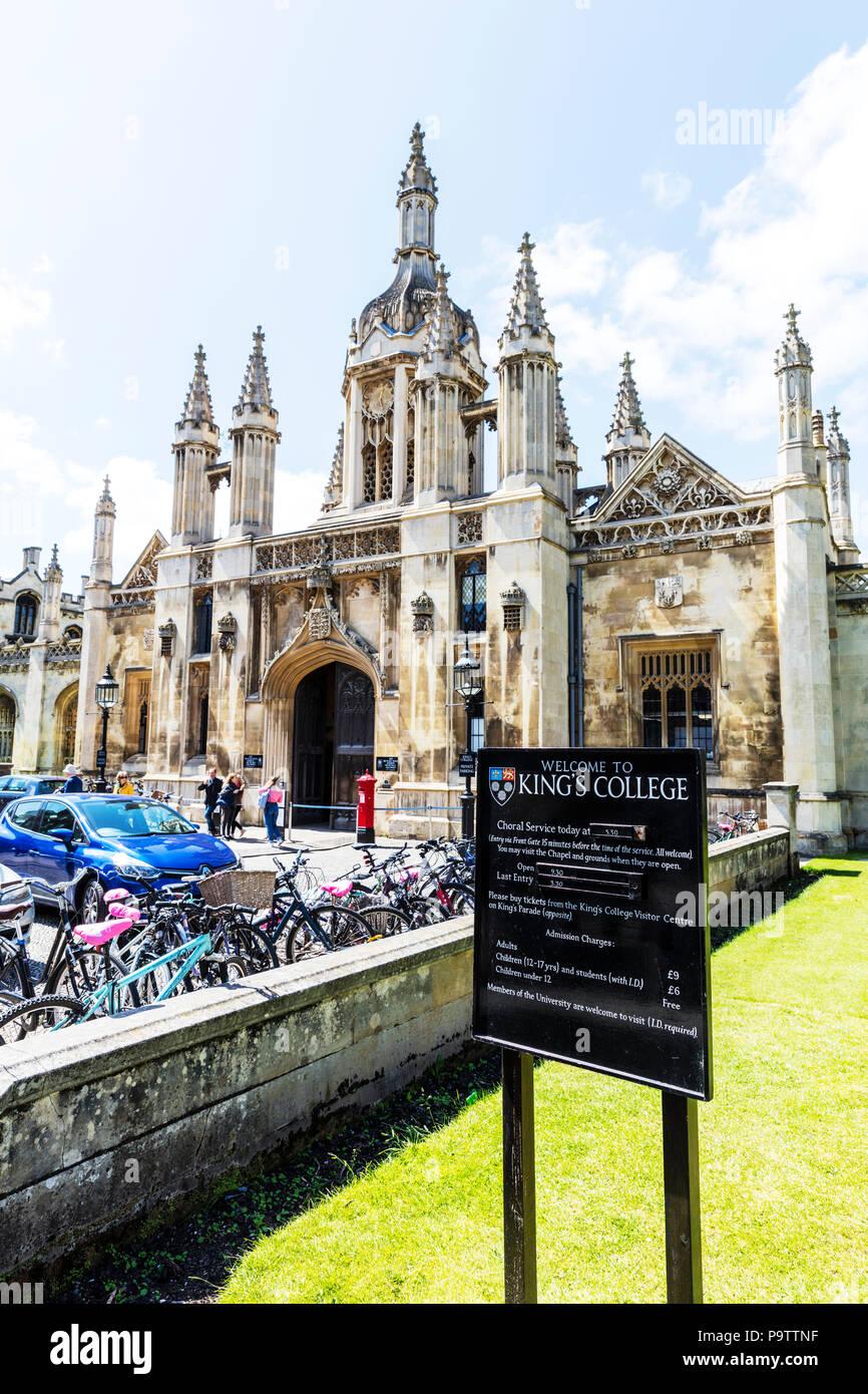 Kings College Cambridge, King's College, Cambridge, King's College Cambridge, Cambridge University, King's, College, Cambridge UK, uni, university, uk Stock Photo