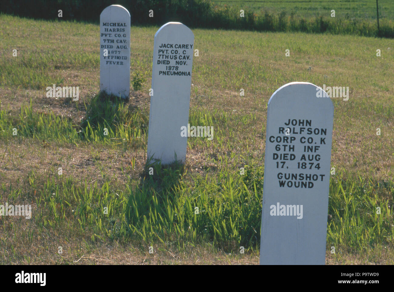 Graves in the post cemetery, Fort McKeen, renamed Fort Abraham Lincoln, Mandan, North Dakota, 1870s. Photograph - Stock Image