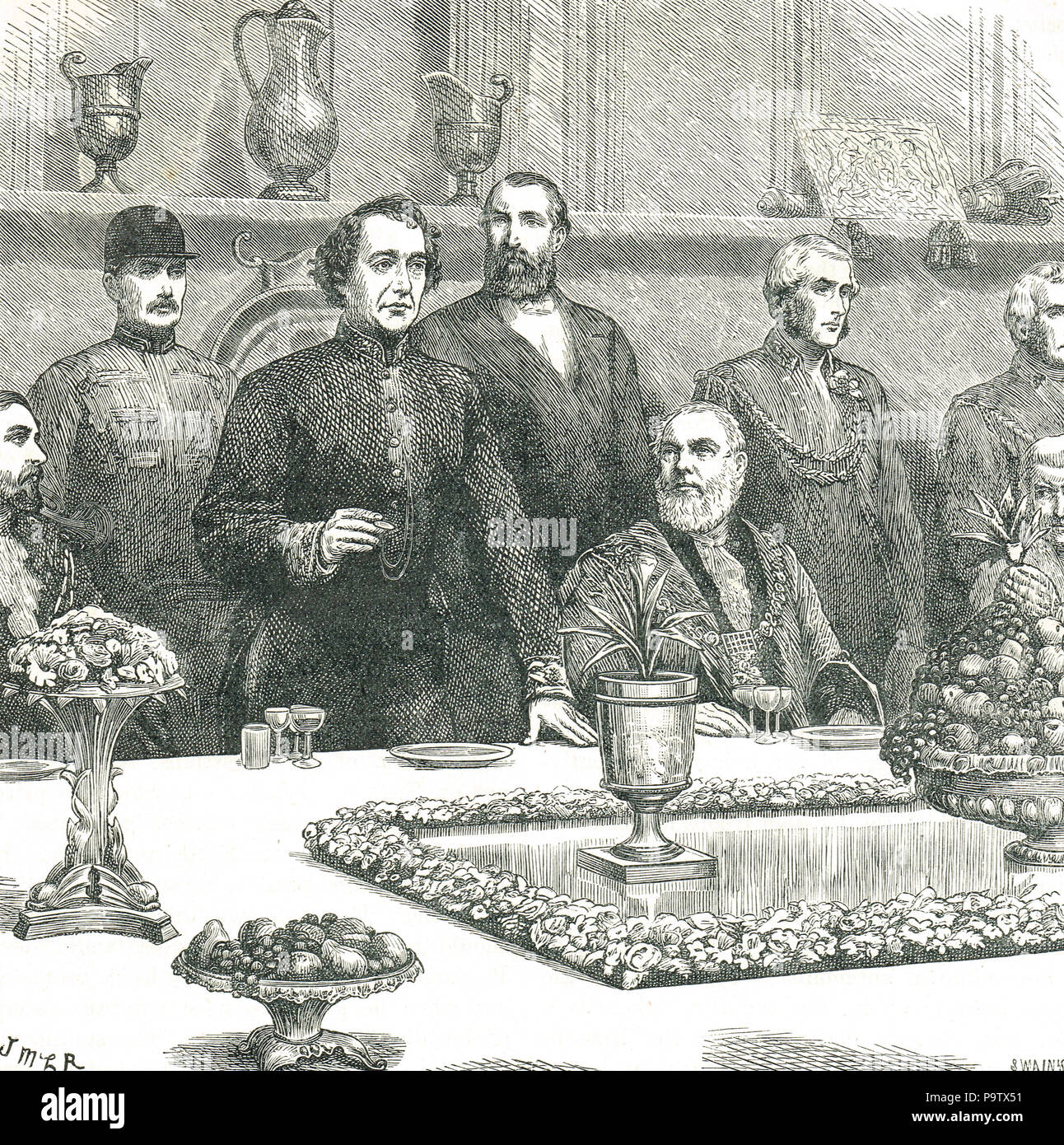Lord Beaconsfield (Benjamin Disraeli) at the Lord Mayor's banquet in Guildhall, London, 9 November 1876. A speech on British interests, amid reports of atrocities in Bulgaria, and Ottoman Empire uprisings - Stock Image