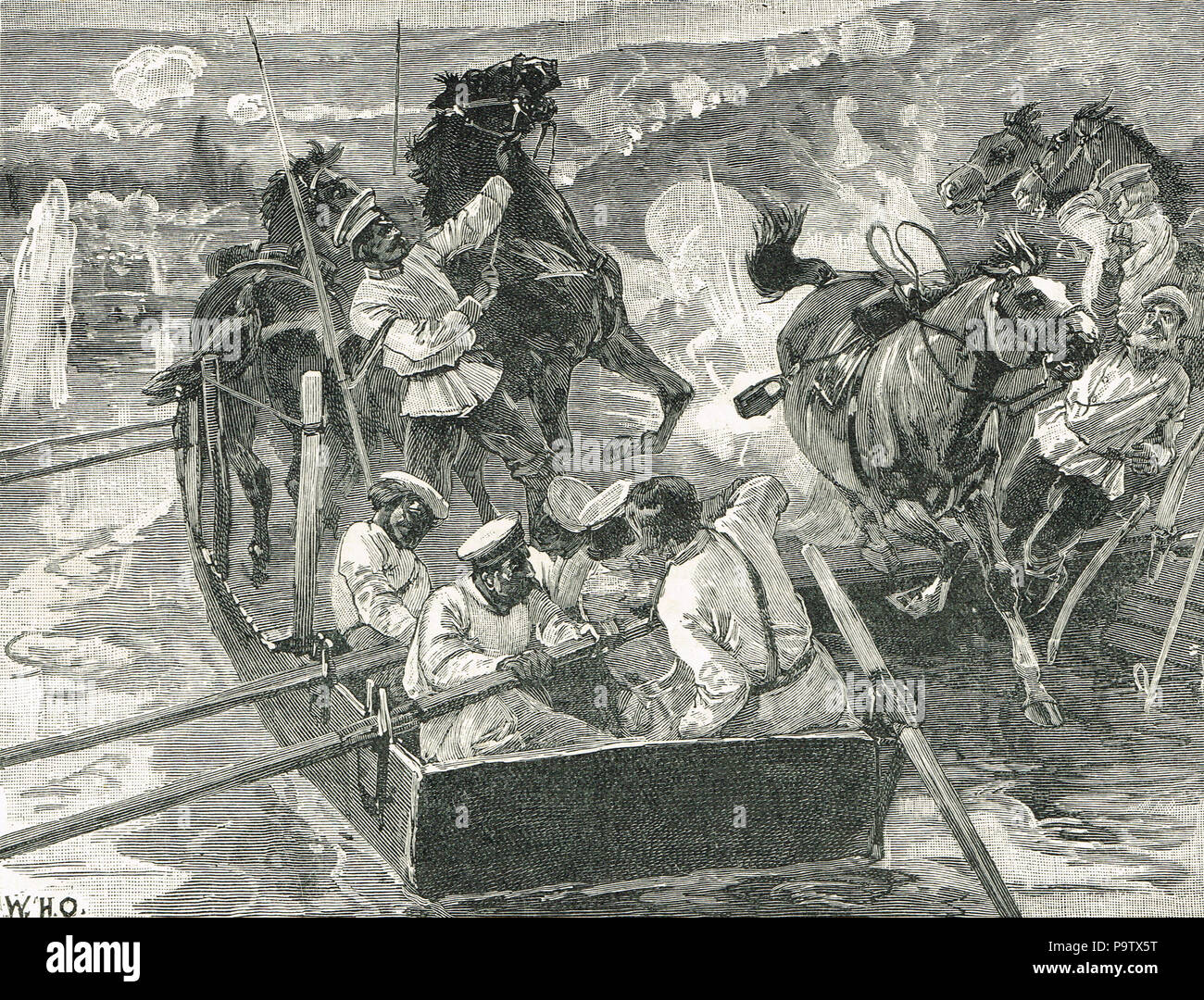 Russians crossing the Danube, battle of  Simnitza, 26 June 1877, during the Russo-Turkish War Stock Photo