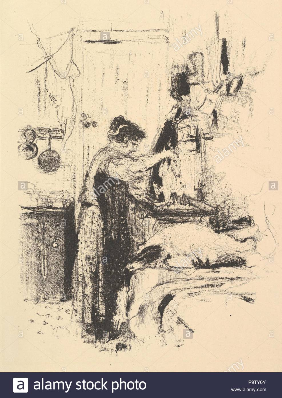 La Flambée, Plate 5 from 'La Cuisine', late 19th–mid-20th century, Lithograph; second state of two, sheet: 13 3/8 x 10 1/4 in. (34 x 26 cm), Prints, Édouard Vuillard (French, Cuiseaux 1868–1940 La Baule). - Stock Image