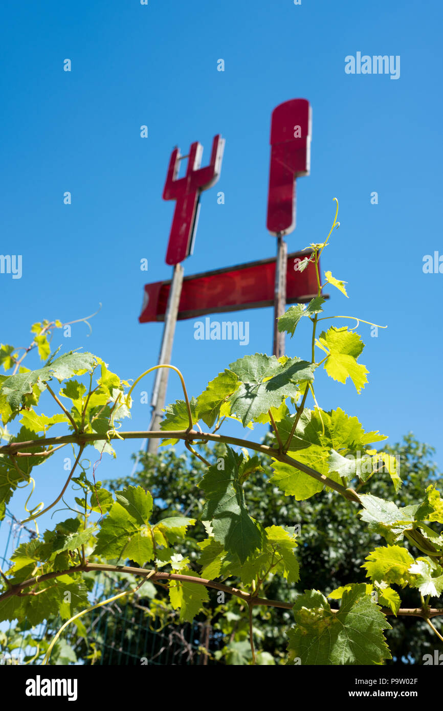 low angle photograph looking through vines and undergrowth up at an old restaurant panel cut out of large red knife and fork - Stock Image