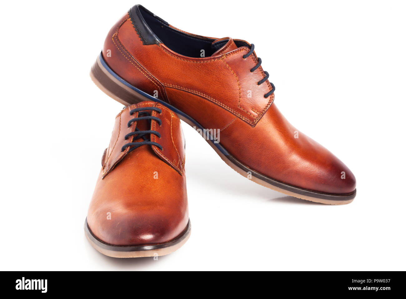 d363b205 Brown Oxford shoes isolated on white background. - Stock Image