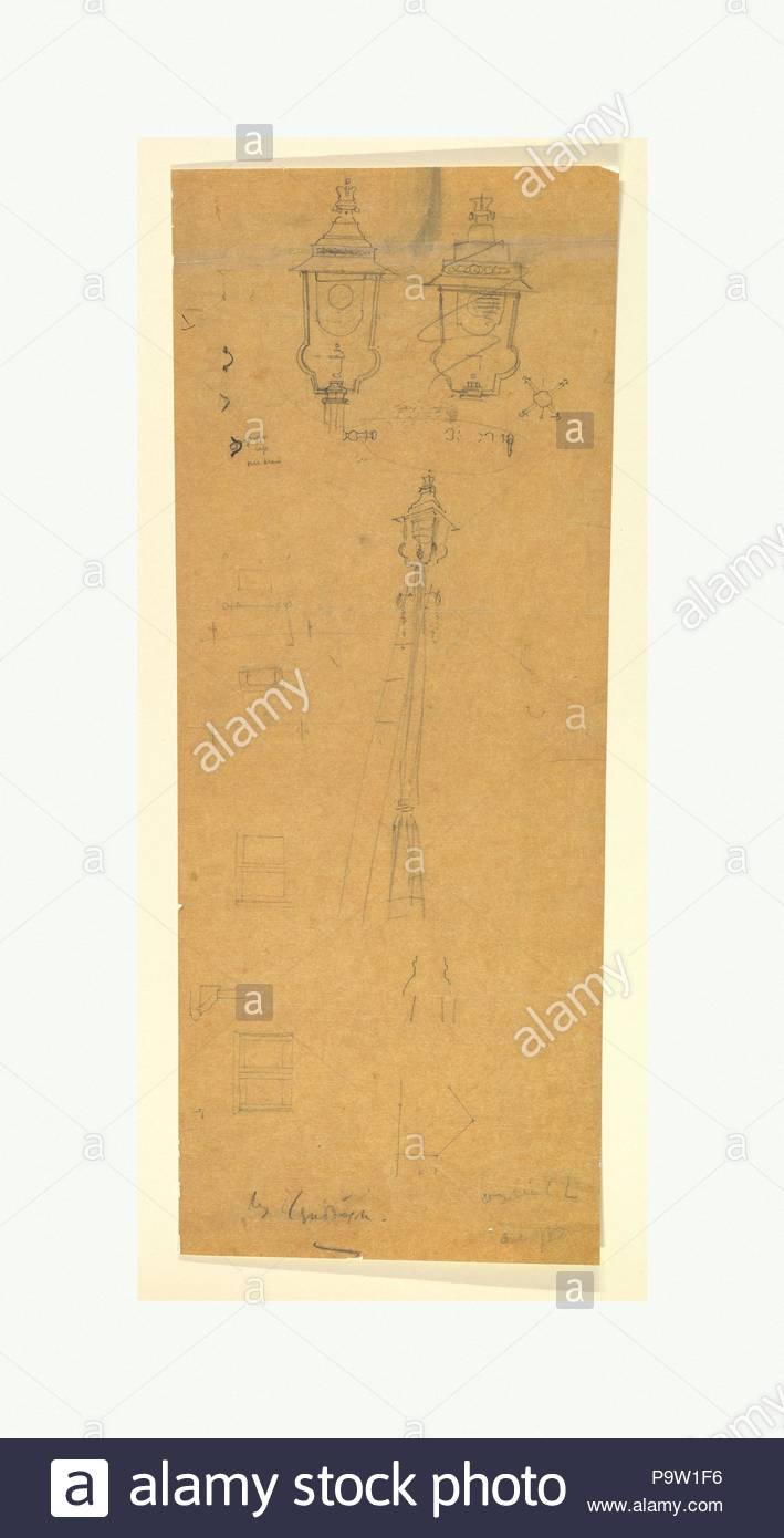 Studies of a Lamp Standard, late 19th–mid-20th century, Graphite, sheet: 25 x 9 3/4 in. (63.5 x 24.8 cm), Sir Edwin Landseer Lutyens (British, London 1869–1944 London). - Stock Image
