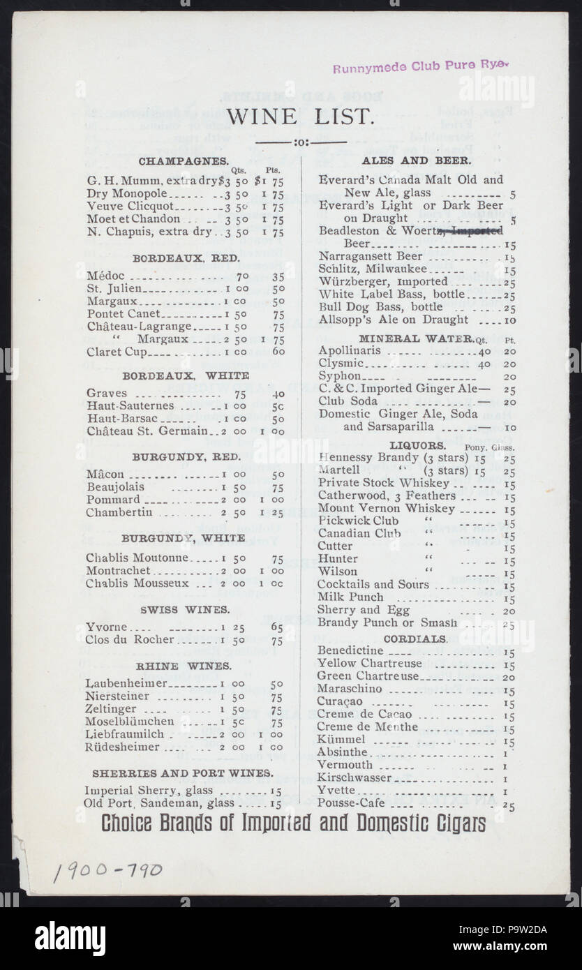 "367 DAILY MENU (held by) KNICKERBOCKER HOTEL RESTAURANT (at) ""384 AND 385 WEST STREET (NEWYORK, NY)"" (REST;) (NYPL Hades-272628-4000007849) Stock Photo"