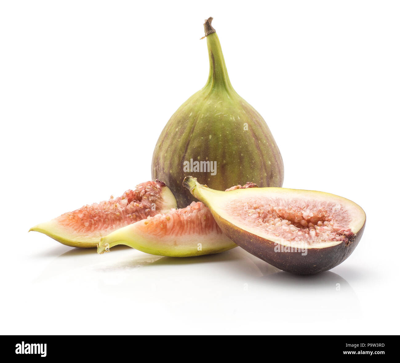 Sliced Figs One Whole Two Slices One Section Half Isolated