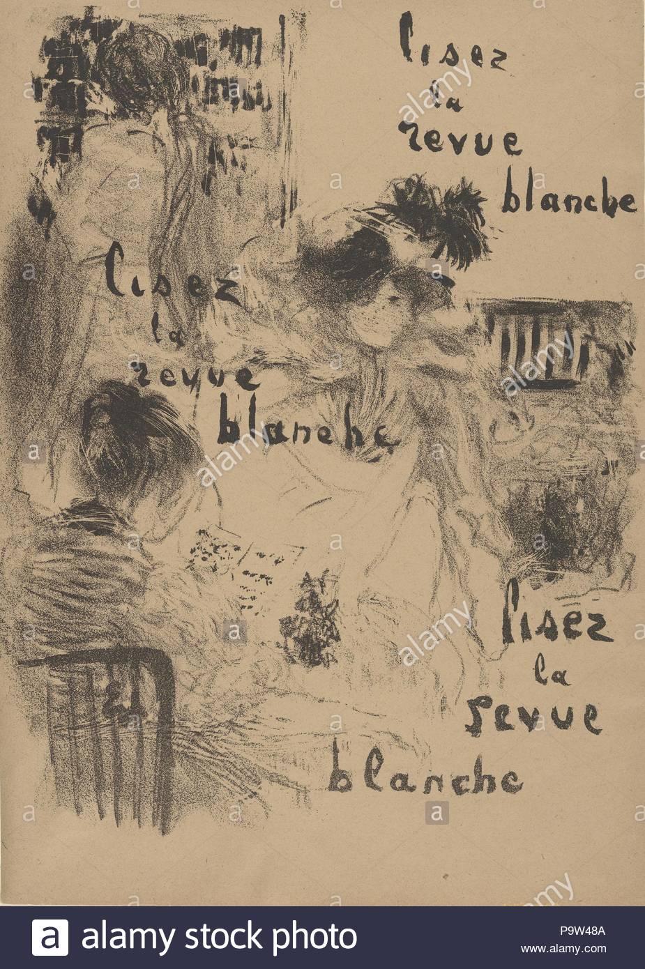 Lisez la Revue Blanche, late 19th–mid-20th century, Lithograph, sheet: 12 15/16 x 9 3/16 in. (32.8 x 23.4 cm), Prints, Édouard Vuillard (French, Cuiseaux 1868–1940 La Baule). - Stock Image
