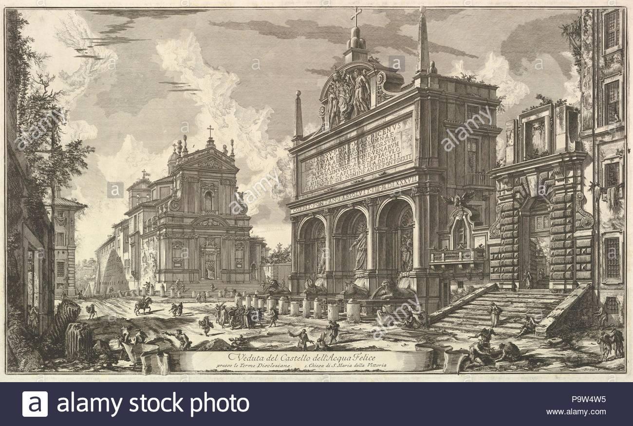 View of the Fountainhead of the Acqua Felice...., from Vedute di Roma (Roman Views), ca. 1751, Etching; first state of five (Hind), Sheet: 21 3/16 x 30 1/8 in. (53.8 x 76.5 cm), Prints, Giovanni Battista Piranesi (Italian, Mogliano Veneto 1720–1778 Rome). - Stock Image