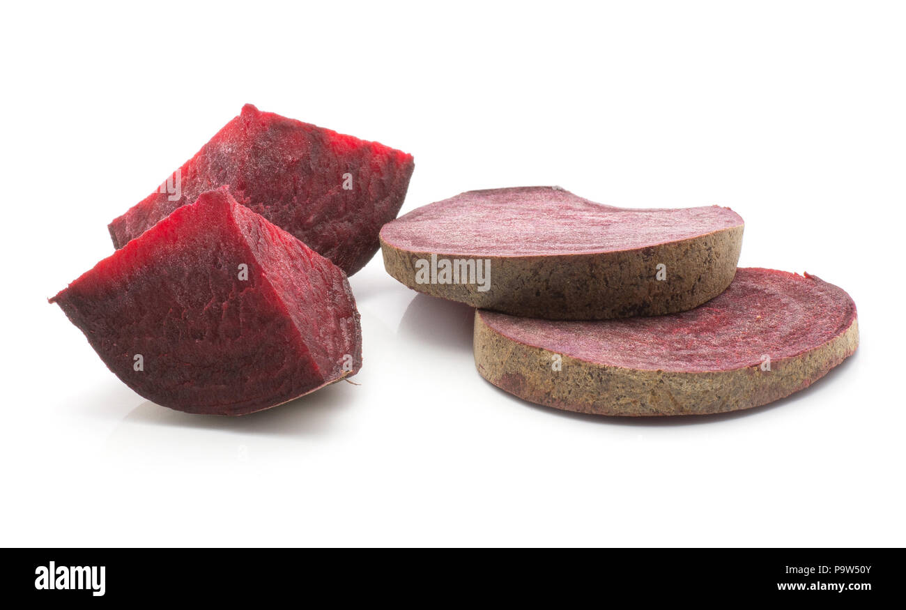 Sliced beetroot set (raw red beet) two sliced rings and two pieces isolated on white background - Stock Image