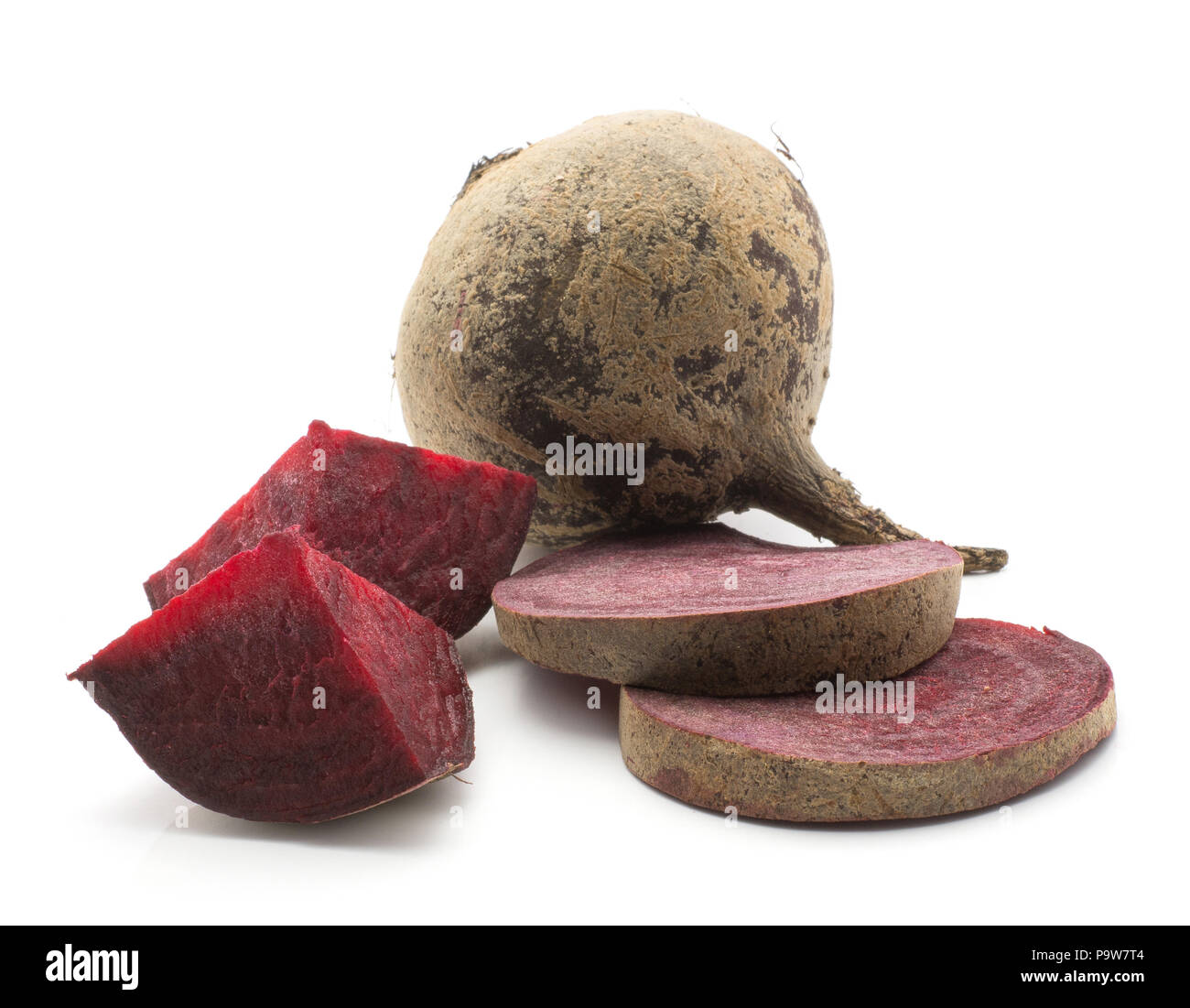 Sliced beetroot set (raw red beet) one bulb two sliced rings two pieces isolated on white background - Stock Image