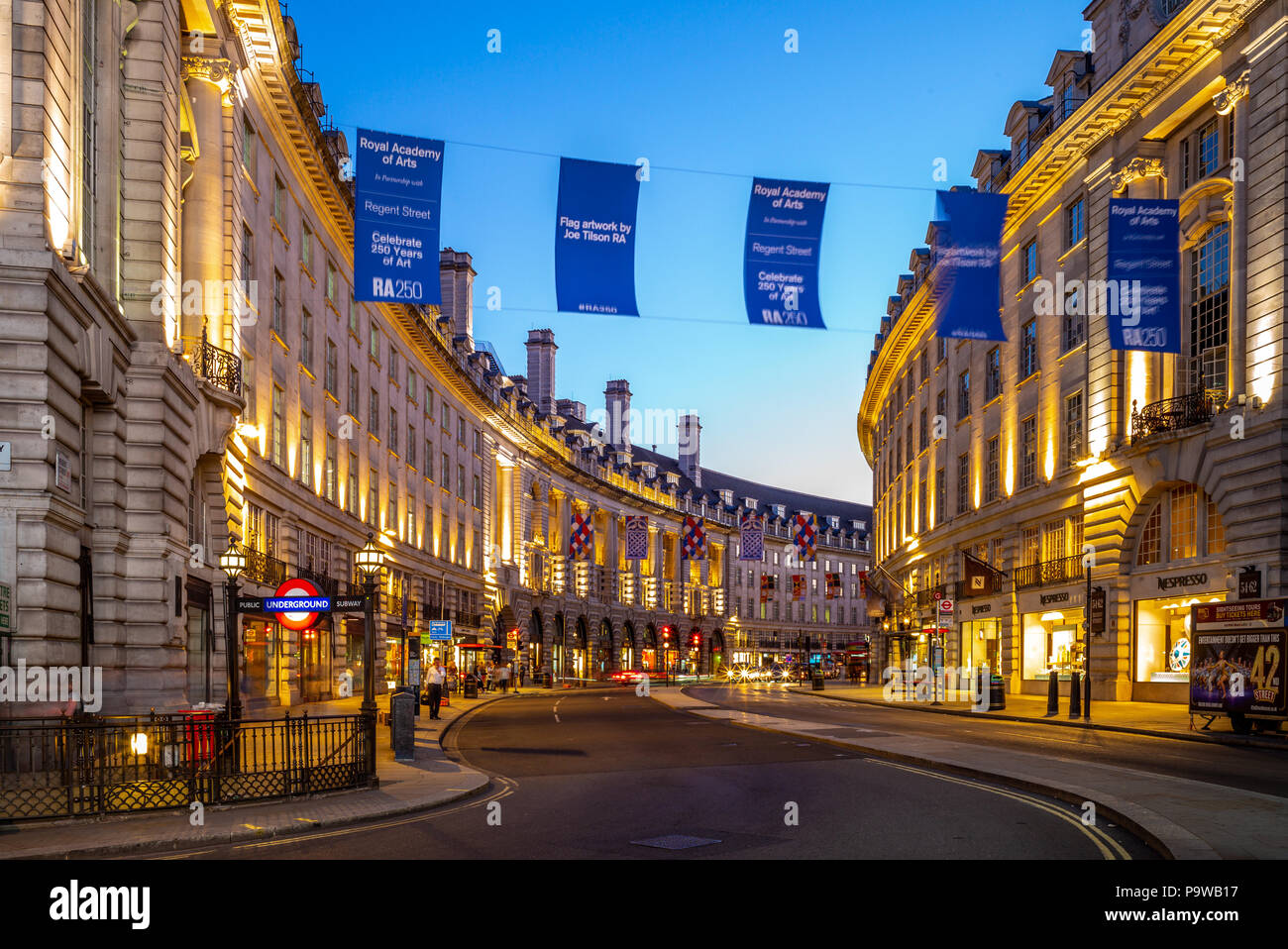 night view of piccadilly circus, a road junction and public space of London's West End in the City of Westminster - Stock Image