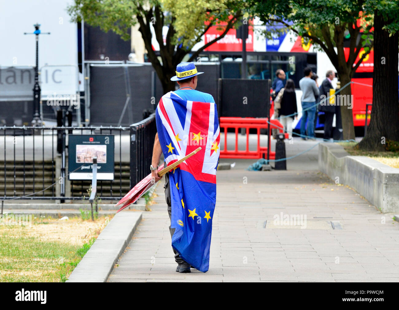 Steve Bray, anti-Brexit protester and founder of SODEM (Stand of Defiance European Movement) on his daily protest outside the Houses of Parliament - Stock Image