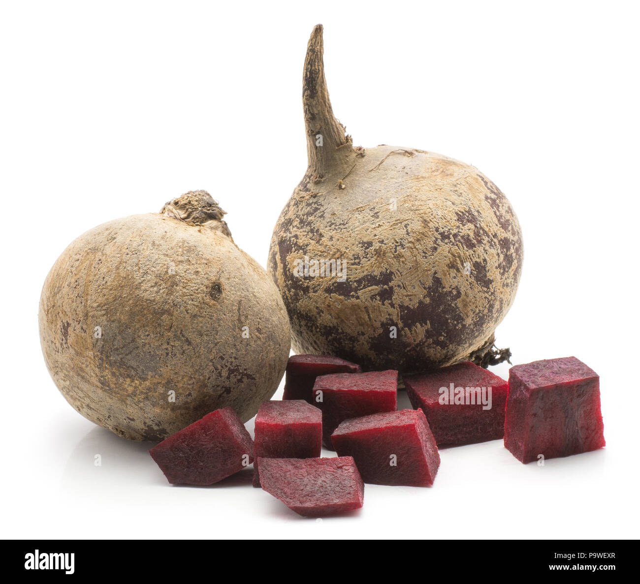 Two beetroot (raw red beet) bulbs and chopped pieces isolated on white background - Stock Image