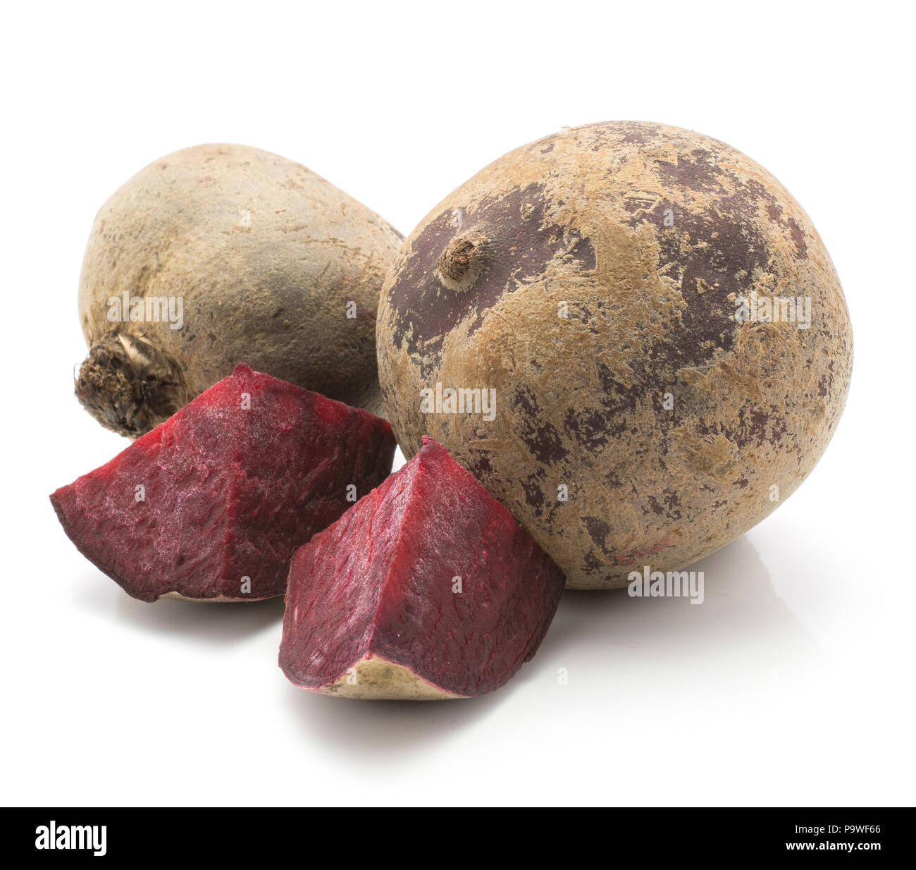 Beetroot (raw red beet) two bulbs and two pieces isolated on white background - Stock Image