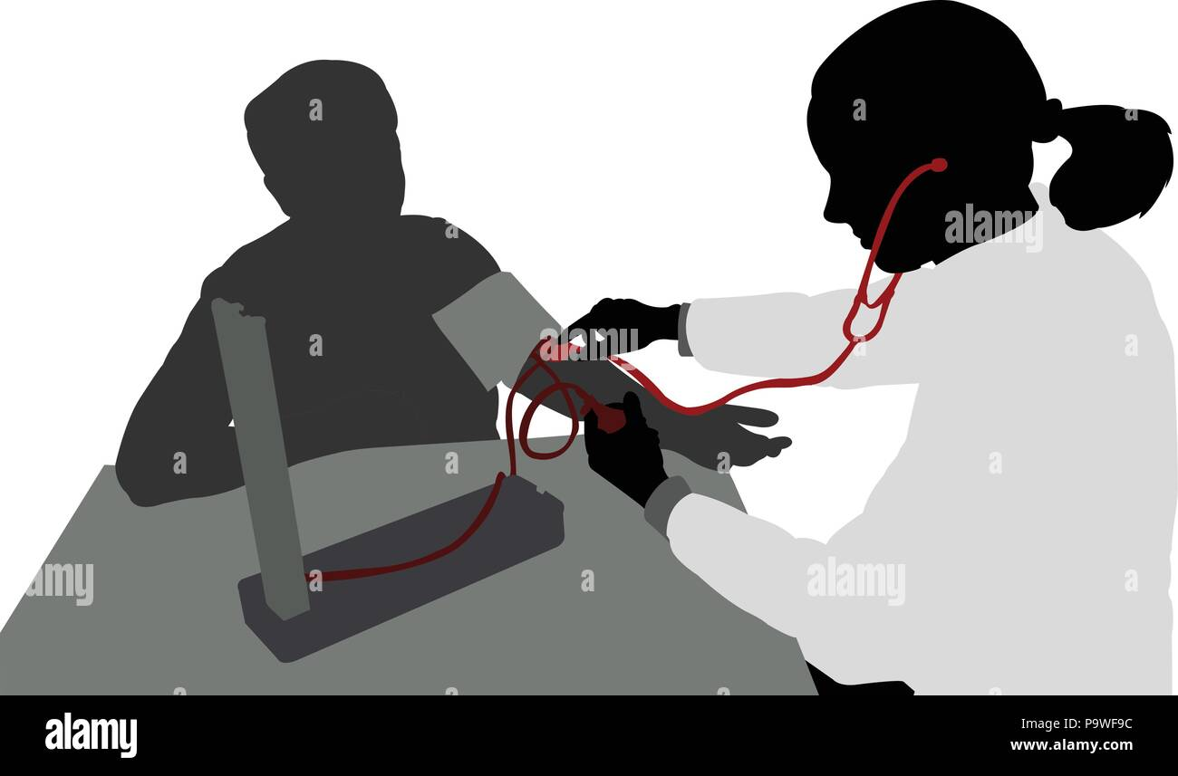 female doctor measuring patients blood pressure silhouette - vector - Stock Image