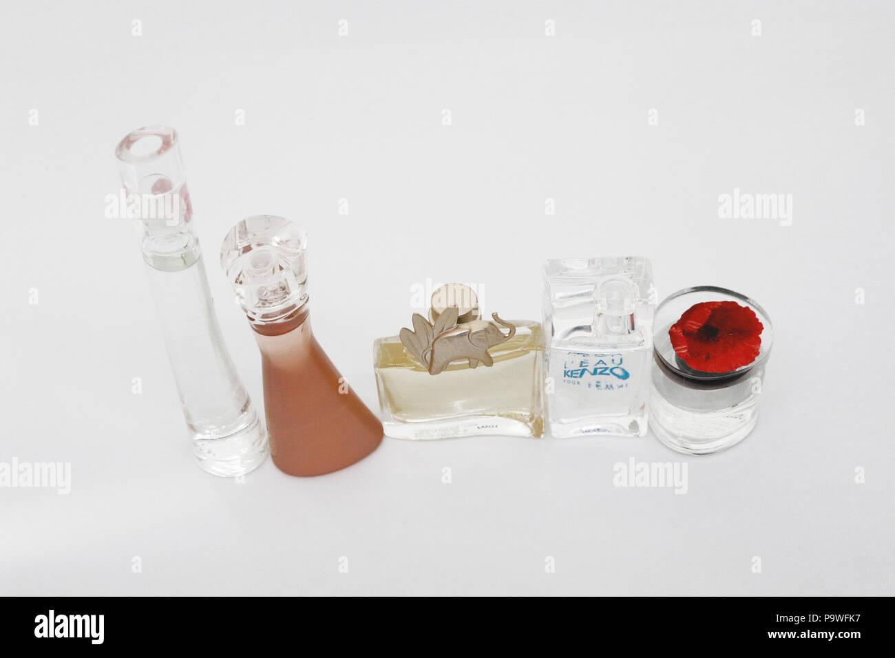 Collection of Kenzo mini perfume bottles - Stock Image