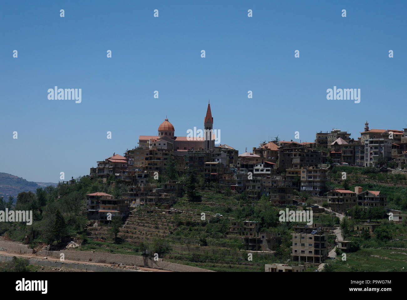 The view of Bcharreh and Mar Saba Cathedral from Gibran Khalil in Lebanon - Stock Image