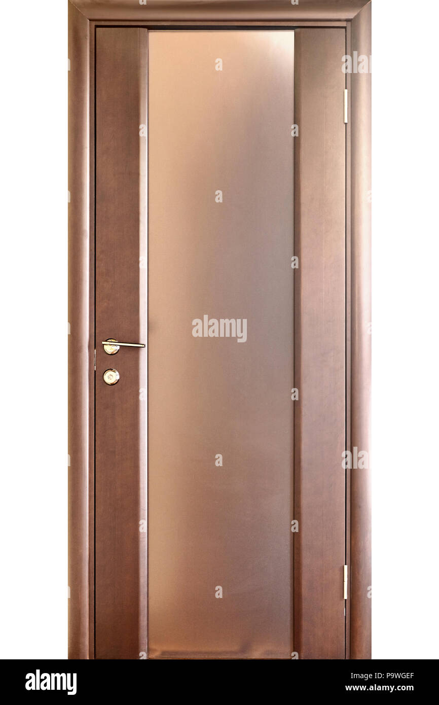 Wooden Interior Door Of Mahogany Wood With Brass Handle And Insets