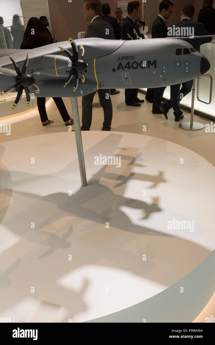 A scale model of the Airbus A400-M transporter aircraft in the company's hospitality chalet at the Farnborough Airshow, on 18th July 2018, in Farnborough, England. - Stock Image