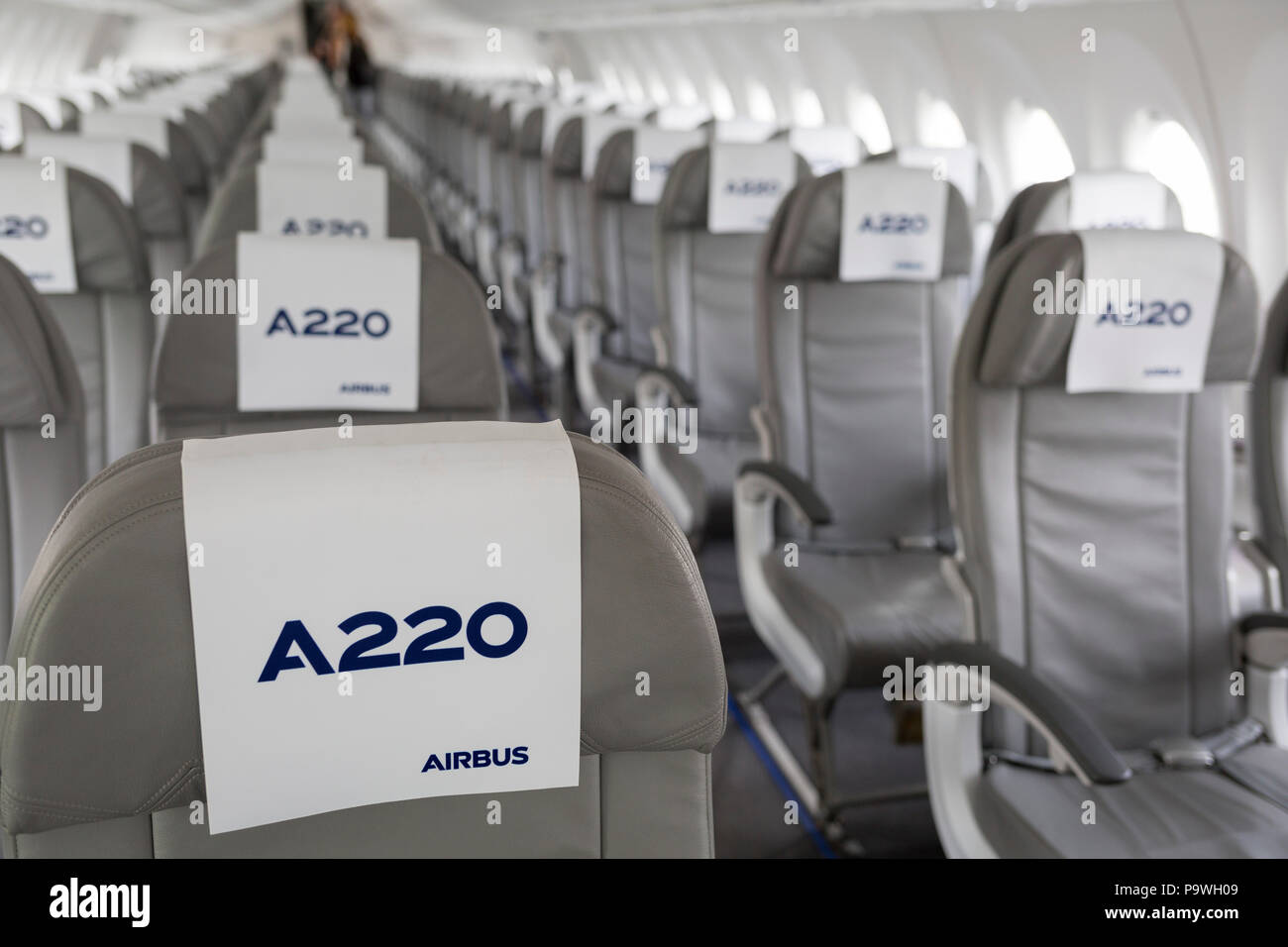 interior seating of the airbus a220 300 at the farnborough airshow on 18th july
