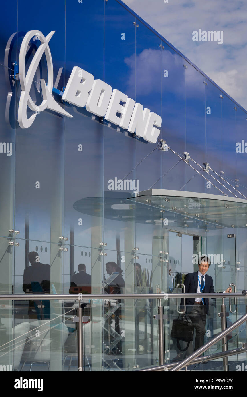 The Boeing hospitality chalet at the Farnborough Airshow, on 16th July 2018, in Farnborough, England. - Stock Image