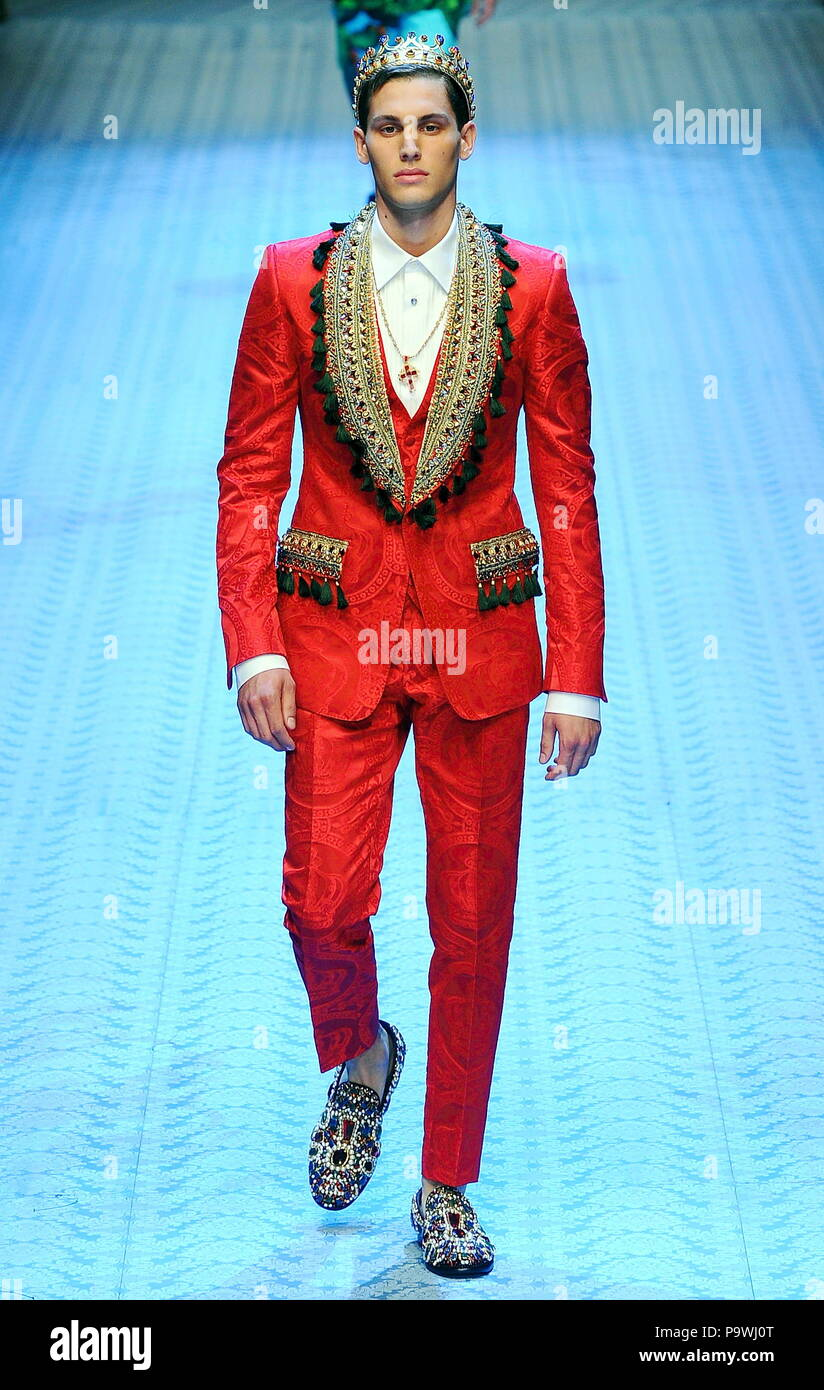 7d2ceae7812ffd Milan Fashion Week Men's - Dolce & Gabbana Spring/Summer Men's Fashion 2019  - Catwalk Featuring: model Where: ...