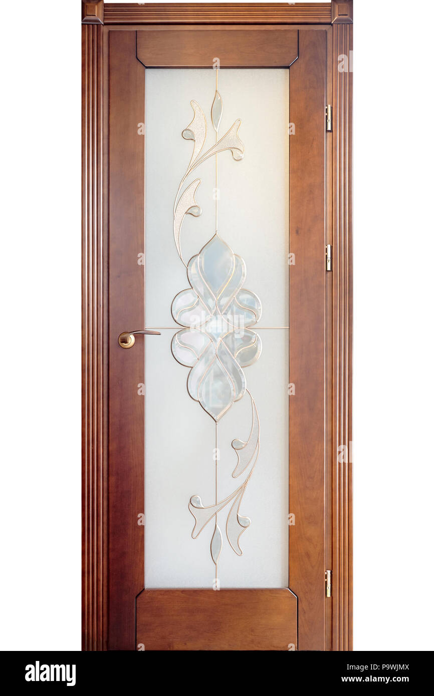 Wooden Interior Door Of Cherry Wood With Brass Handle And Insets Of Frosted  Glass With Flower Ornament Isolated On White Background