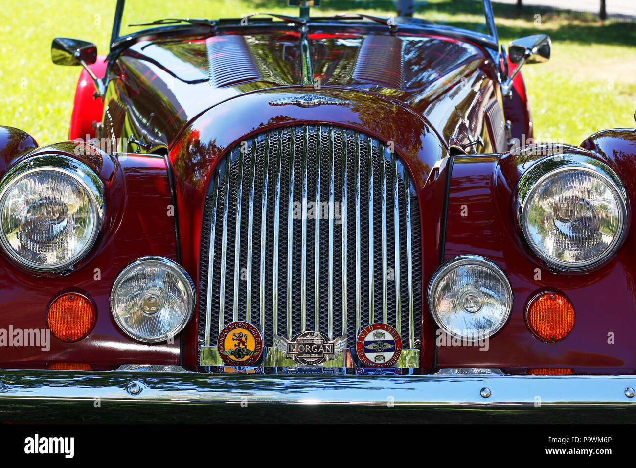Oldtimer Morgan Plus 8, radiator grille with headlights, front view, historic vehicle, Germany - Stock Image