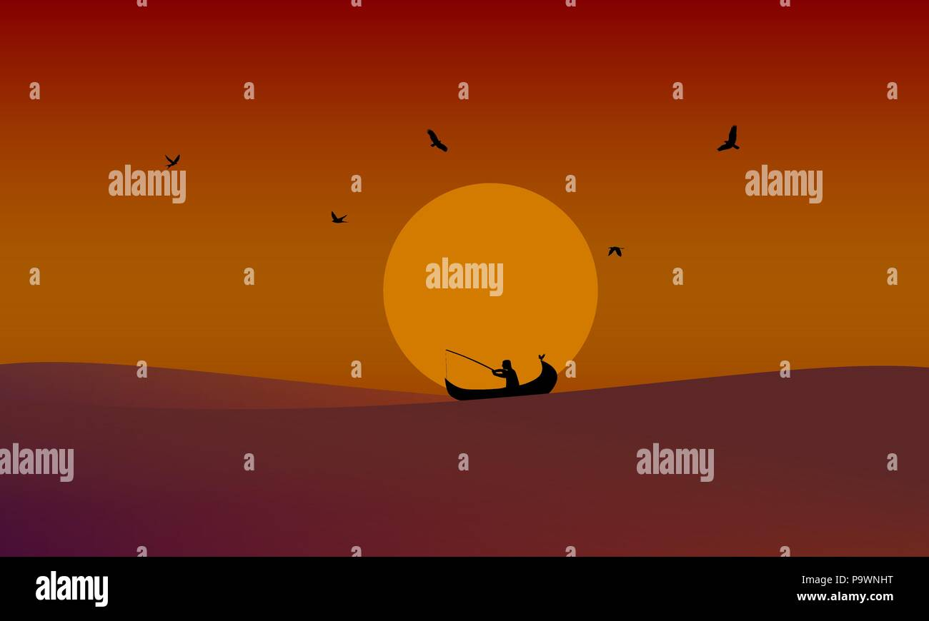 Fishing in sunset vector illustration with gradient - Stock Image