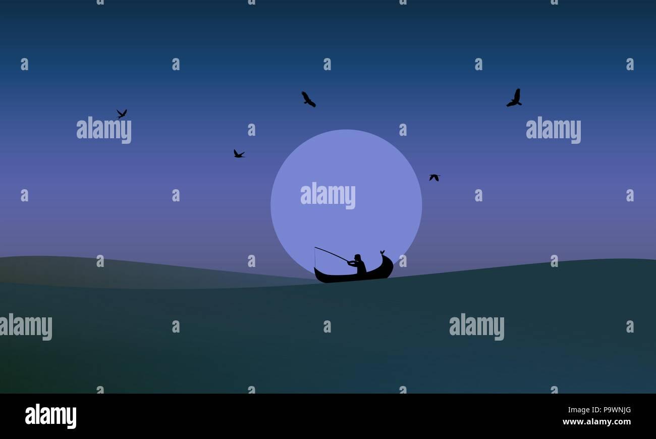 Midnight fishing vector illustration - Stock Image