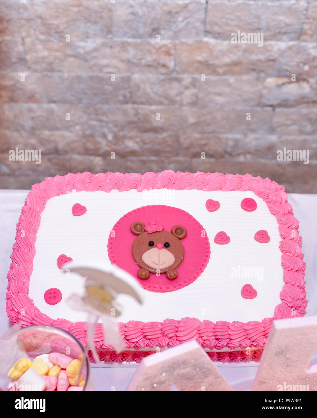 Tremendous Baby Girl First Birthday Cake With Teddy Bear Image Of A Stock Funny Birthday Cards Online Hendilapandamsfinfo