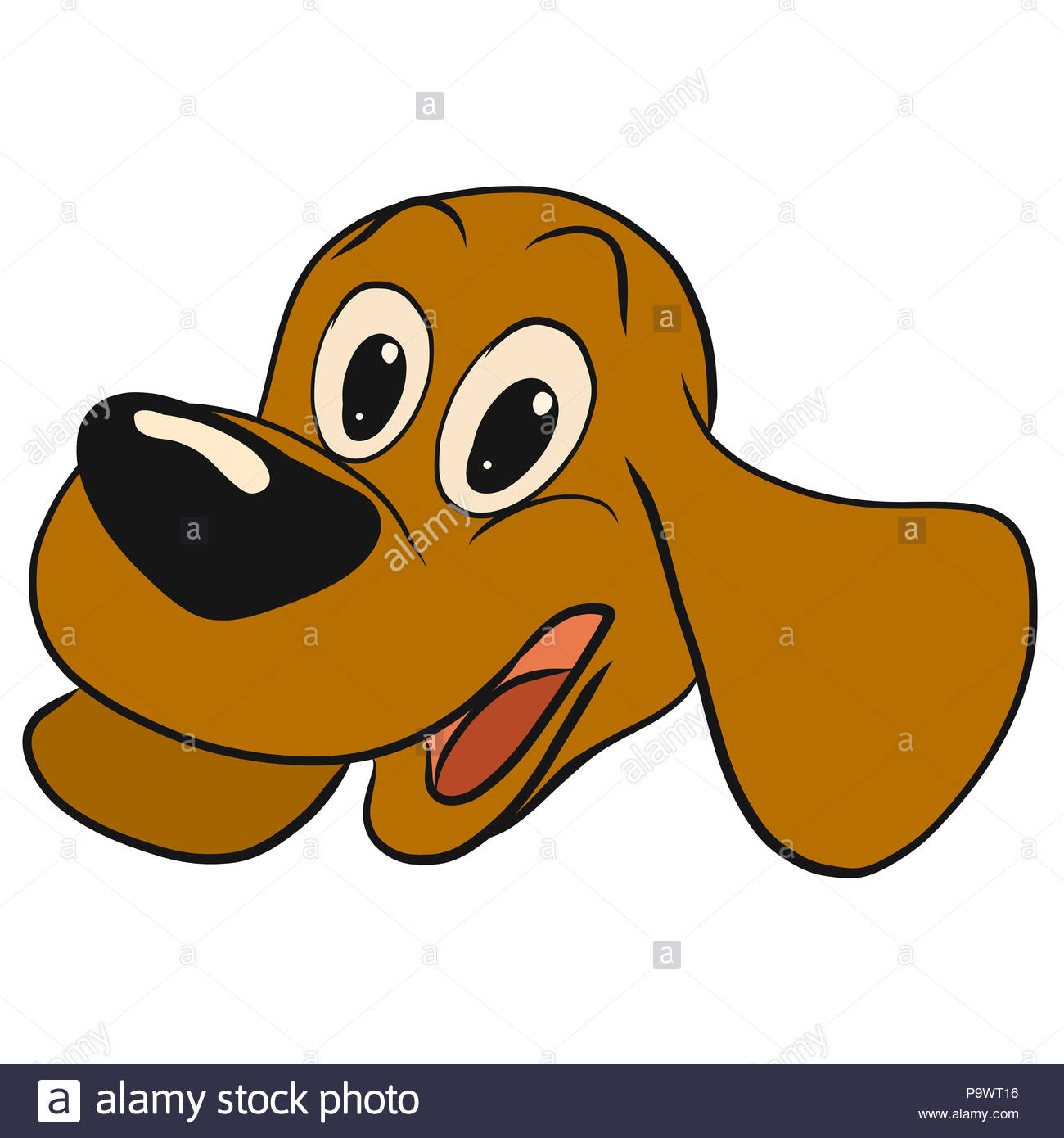 Happy puppy with a big nose and long ears - Stock Image