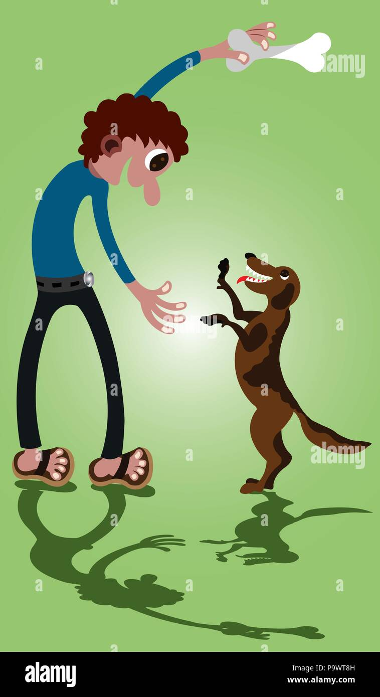 A dog Owner playing with its Pet - Stock Vector