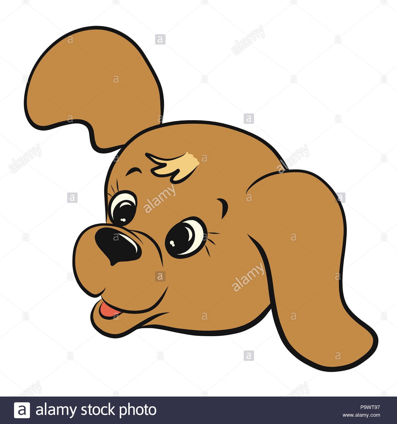 A small funny joyful puppy with long ears, a head - Stock Image