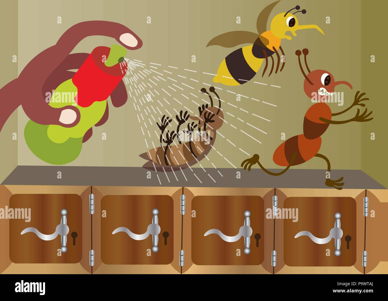 Bugs running away from an insecticide spray Stock Vector