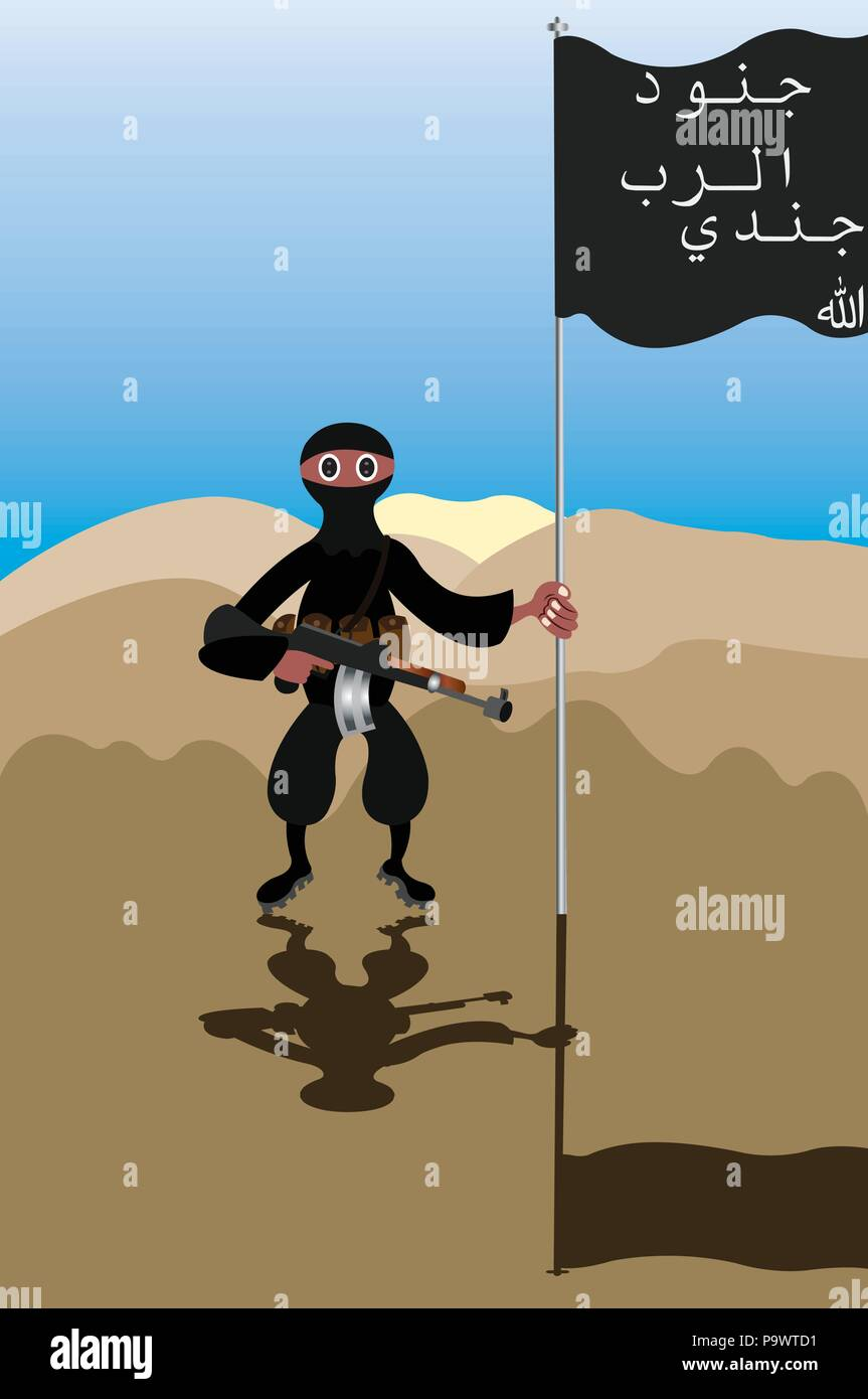 An Islamic Extremist stands next to its Jihadi Flag, - Stock Image