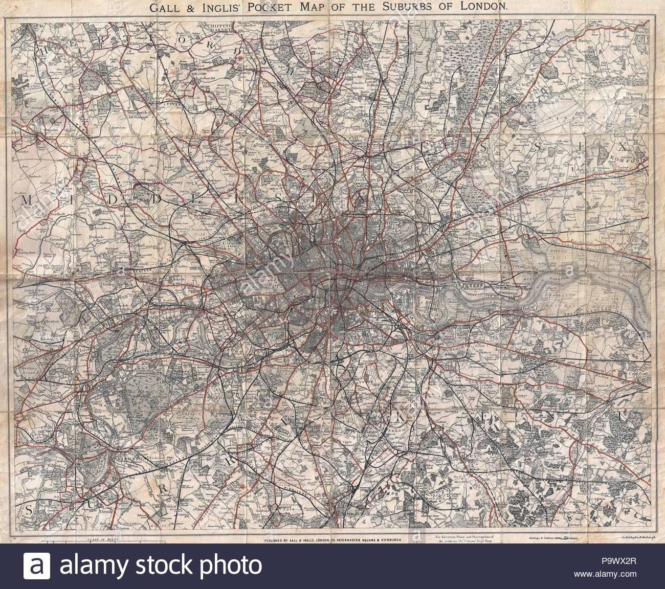 Map Of London 1900.1900 Gall And Inglis Map Of London And Environs Stock Photo