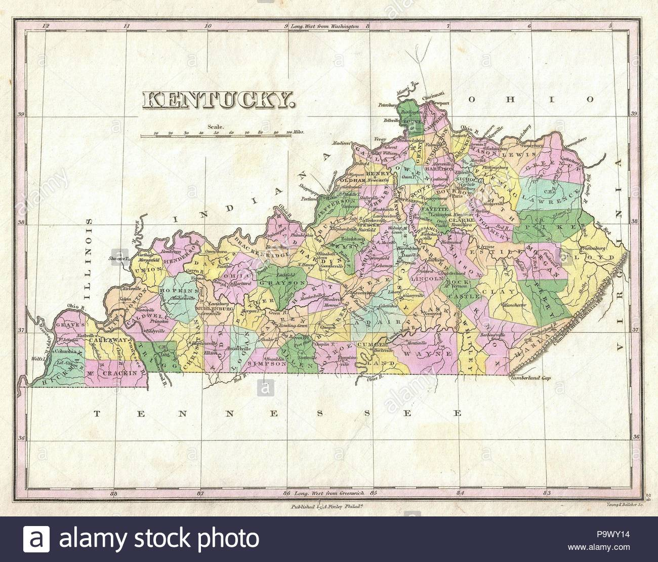 1827, Finley Map of Kentucky, Anthony Finley mapmaker of the United ...